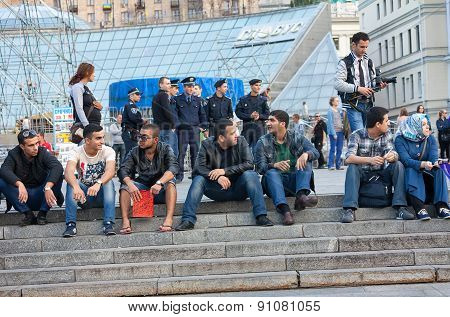 Ukraine, Kiev - September 11,2013: Arab Students Are Resting At The Independence Square