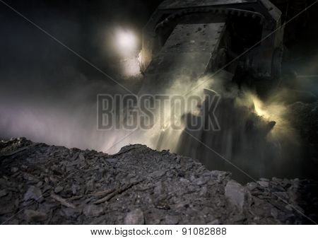 Coal Mining Harvester While Working At A Depth Of About 700 Meters Underground