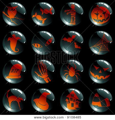 set of 16 black and orange halloween buttons