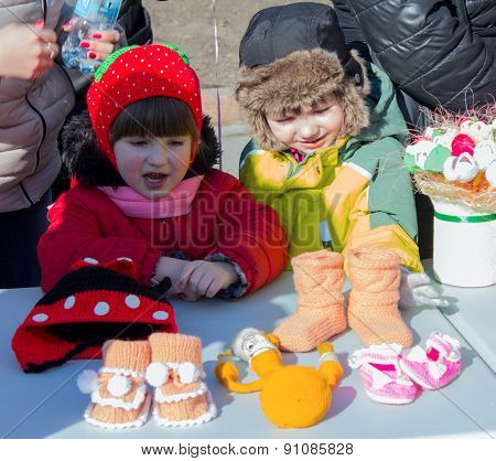 Makeevka, Ukraine - February, 22, 2015: ?hildren On Holiday In Honor Of The Arrival Of Spring In Don