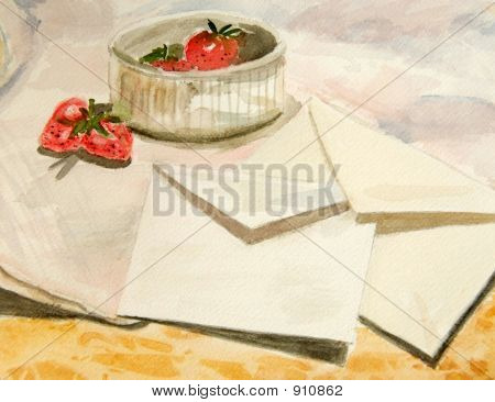 Painted Still Life With Strawberries