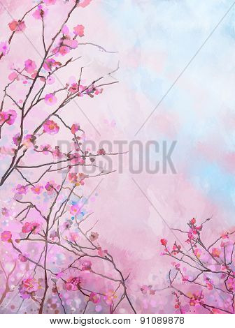 Painting Pink Japanese Cherry - Sakura Floral Spring Blossom Background