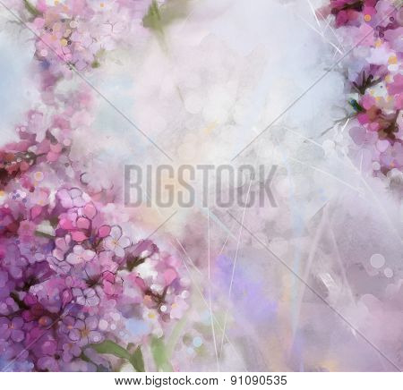 Watercolor Painting  Pink  Apricot Tree Flower