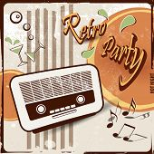 Retro party background with old radio - 50s 70s style poster