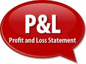 word speech bubble illustration of business acronym term P&L Profit and Loss Statement poster