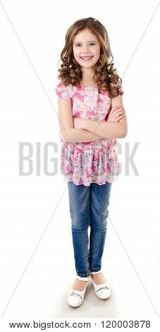 Portrait Of Adorable Happy Little Girl In Jeans