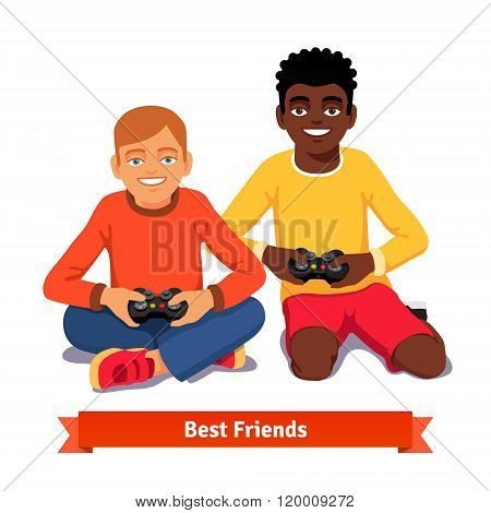 Best friends video gaming together on the floor