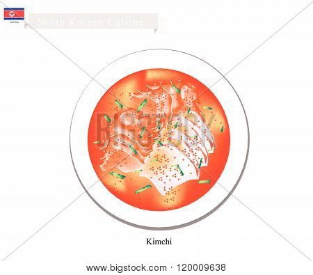 Kimchi Or Korean Salted Cabbage Or Vegetables With Spicy Sauce
