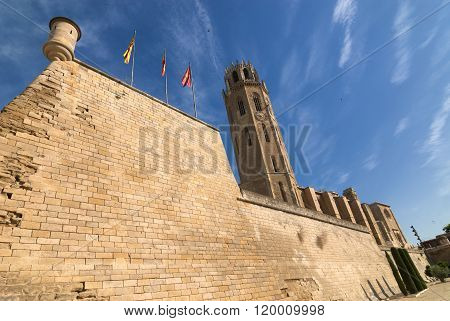 Panoramic view of Lerida (Lleida Catalunya Spain) at summer. The historic city in gothic style poster