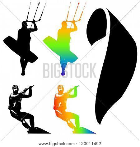 Illustration Icons of Kiteboarding. Extreme Sports.
