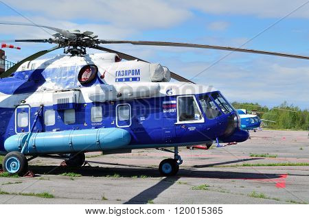 The Mil Mi-8 Amt  Helicopter Of Gazpromavia Aviation Company In Pulkovo Airport In Saint-petersburg