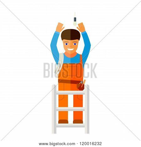 Flat vector illustration of a man who repairs lighting.