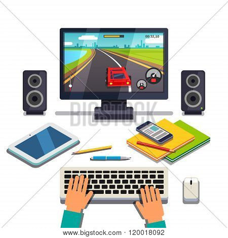 Student is gaming on a desktop computer pc