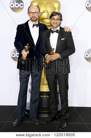 James Gay-Rees and Asif Kapadia at the 88th Annual Academy Awards - Press Room held at the Loews Hollywood Hotel in Hollywood, USA on February 28, 2016.