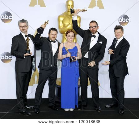 Andy Serkis, Mark Williams Ardington, Paul Norris, Sara Bennett and Andrew Whitehurst at the 88th Annual Academy Awards - Press Room held at the Loews Hollywood in Hollywood, USA on February 28, 2016.