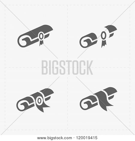 Scrolls icons with ribbon on white