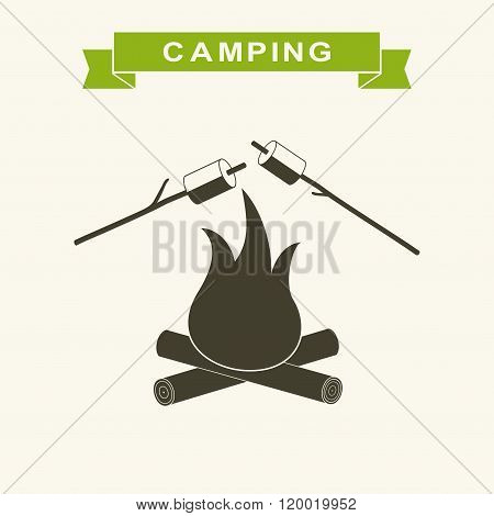 Bonfire with marshmallow Icon. Camping grill marshmallow flat. Marshmallow outdoor campfire night. V