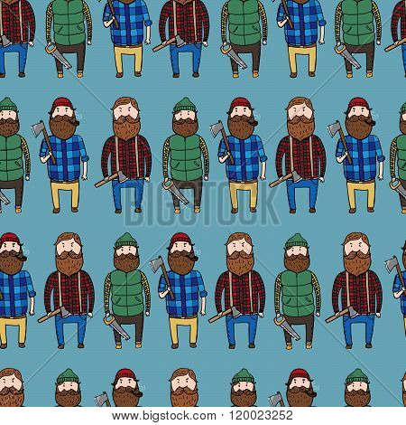 Seamless Pattern With Cute Lumberjacks