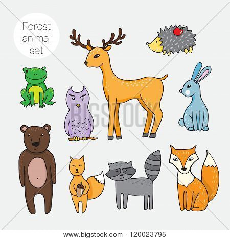 Set Of Different Forest Animals In Cartoon Style