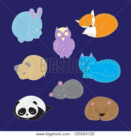 Set Of Cute Sleeping Animals