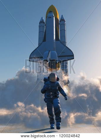 Astronaut runs on the background of a space rocket.