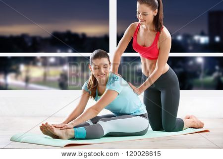 Woman workout with trainer