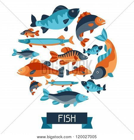 Background with various fish. Image for advertising booklets, banners, flayers, article and social m