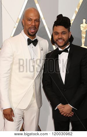 LOS ANGELES - FEB 28:  Common, The Weeknd at the 88th Annual Academy Awards - Arrivals at the Dolby Theater on February 28, 2016 in Los Angeles, CA