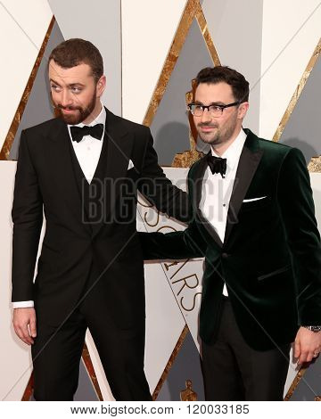 LOS ANGELES - FEB 28:  Sam Smith, Jimmy Napes at the 88th Annual Academy Awards - Arrivals at the Dolby Theater on February 28, 2016 in Los Angeles, CA