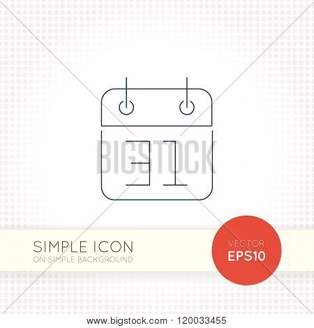 Extra thin line design vector universal calendar icon. Elements for user interface.
