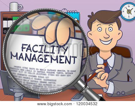 Facility Management through Magnifying Glass. Doodle Style.