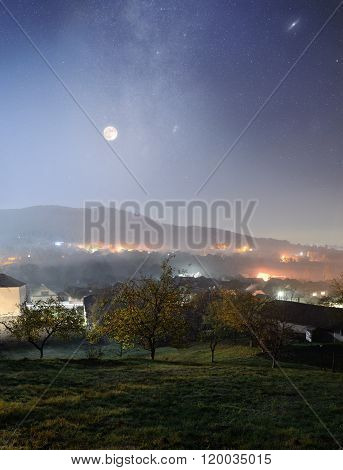 Mountain Village At Night