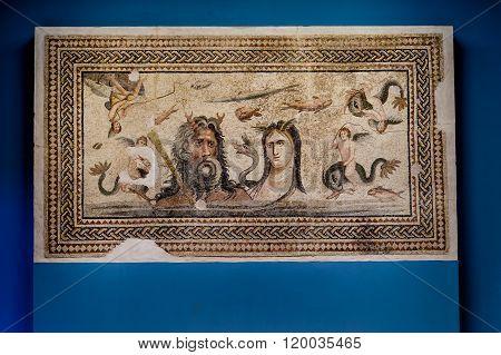 Oceanus And Tethys In Zeugma Mozaic Museum.