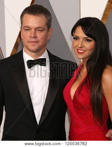 LOS ANGELES - FEB 28:  Matt Damon, Luciana Barroso at the 88th Annual Academy Awards - Arrivals at the Dolby Theater on February 28, 2016 in Los Angeles, CA