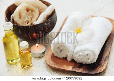 Spa decoration, natural organic bath products on a wooden tray