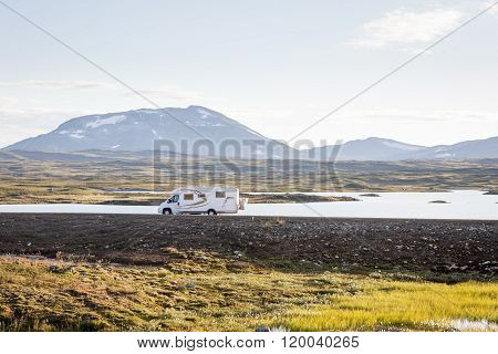 Picture of a motor home RV in the wilderness of Swedish Lapland.