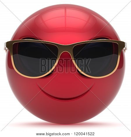 Smiley alien face cartoon cute sunglasses head emoticon monster ball red golden avatar. Cheerful funny smile invader person character toy laughing eyes joy icon concept