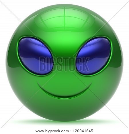 Smiley alien face cartoon cute head emoticon monster ball green blue avatar. Cheerful funny smile invader person character toy laughing eyes joy icon concept