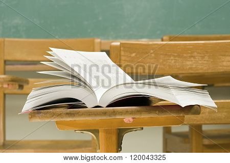 Open book on a desk