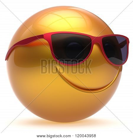 Smile face head ball cheerful sphere emoticon cartoon smiley happy decoration cute yellow golden red sunglasses. Smiling funny joyful person laughing joy character toy avatar