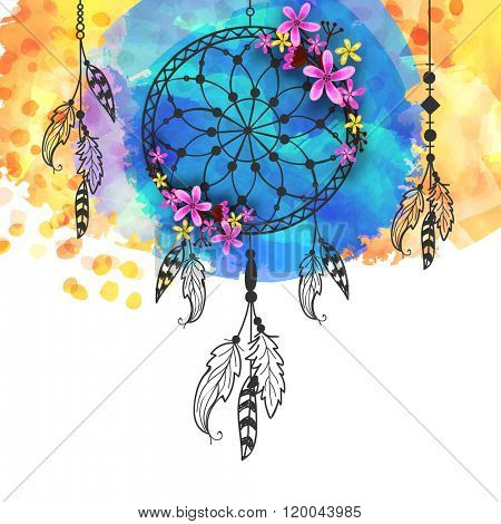 Boho Style Dreamcatcher, hand drawn vector illustration. Colorful grunge with tribal elements.