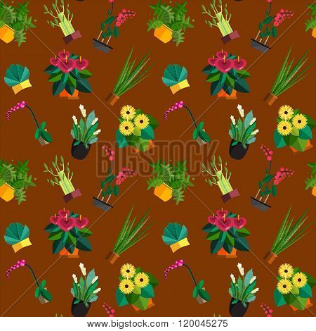 Seamless pattern of houseplants, indoor and office plants in pot. Dracaena, fern, bamboo, spathyfyll