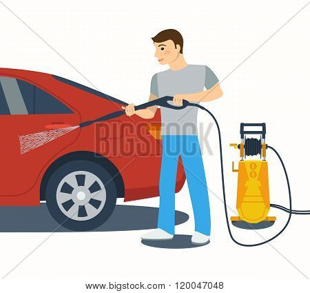 Flat style vector illustration of man washing a car.