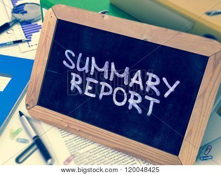 Handwritten Summary Report on a Chalkboard.
