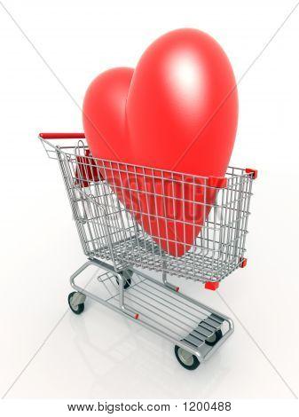 Corazón 3D en carro de compras