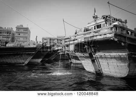 Traditional Dhow Ferry Boats On The Dubai Creek..