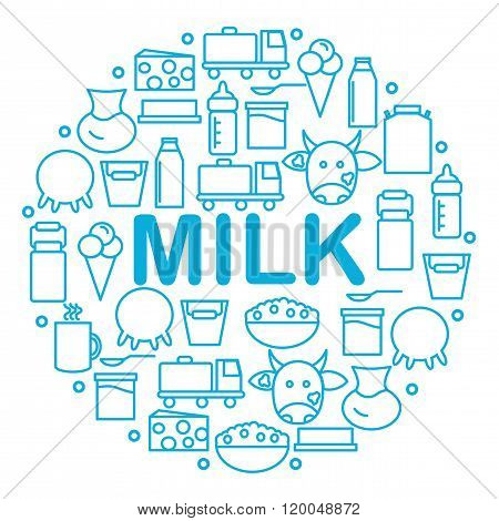 Milk and dairy products are located inside a circle on a white background.