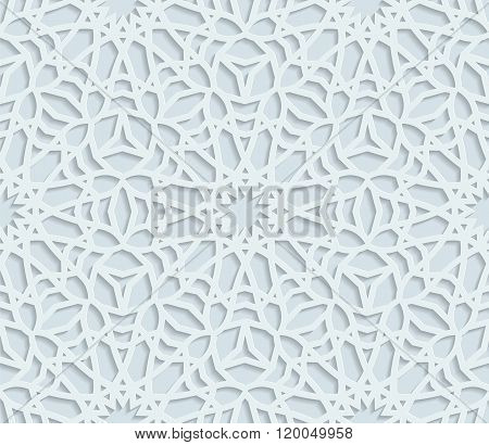 Seamless arabic geometric pattern east ornament indian ornament persian motif 3D vector. Endless tex