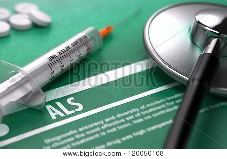 ALS. Medical Concept on Green Background.