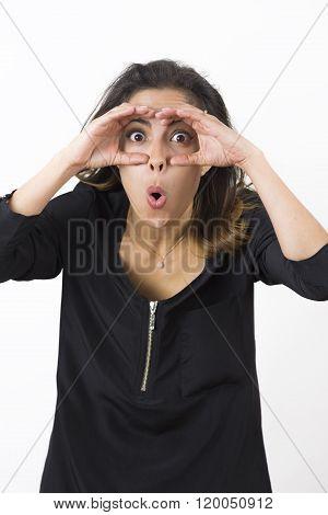 Young Beauty Woman Making Binoculars